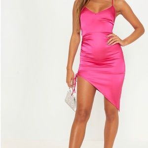 PLT Hot Pink Satin Ruched Dress NWT